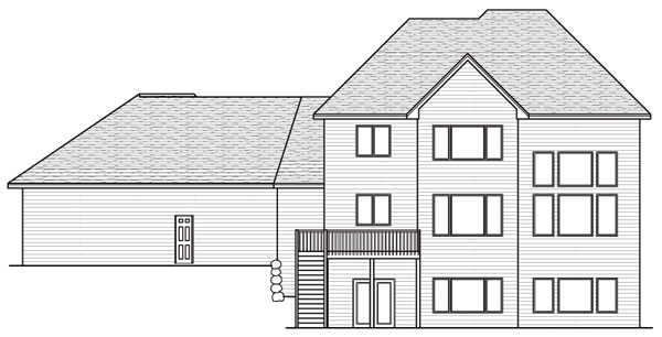 Colonial European Traditional House Plan 42039 Rear Elevation