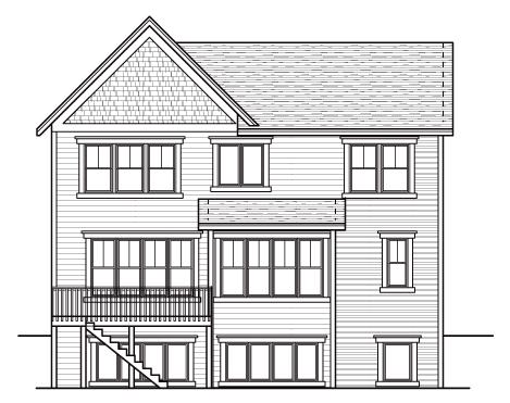 Craftsman European Traditional House Plan 42042 Rear Elevation