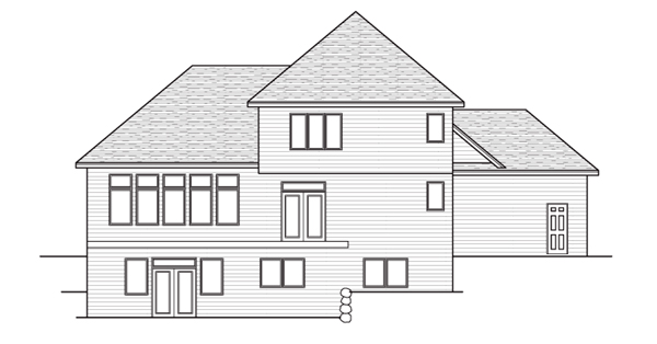 European Traditional House Plan 42046 Rear Elevation