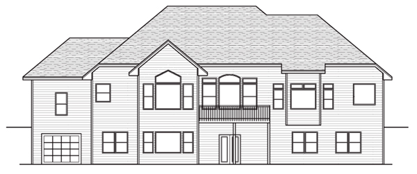 European Traditional House Plan 42048 Rear Elevation