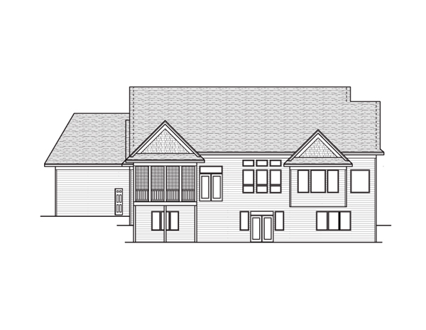 European Traditional House Plan 42049 Rear Elevation
