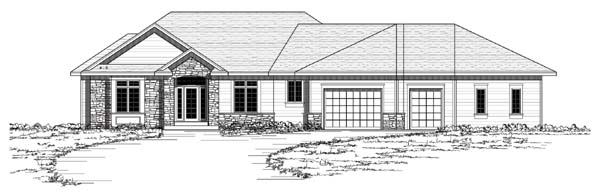 European , One-Story , Ranch , Traditional House Plan 42052 with 3 Beds, 2 Baths, 3 Car Garage Elevation