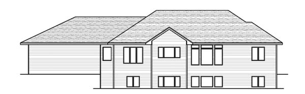 European , One-Story , Ranch , Traditional House Plan 42052 with 3 Beds, 2 Baths, 3 Car Garage Rear Elevation