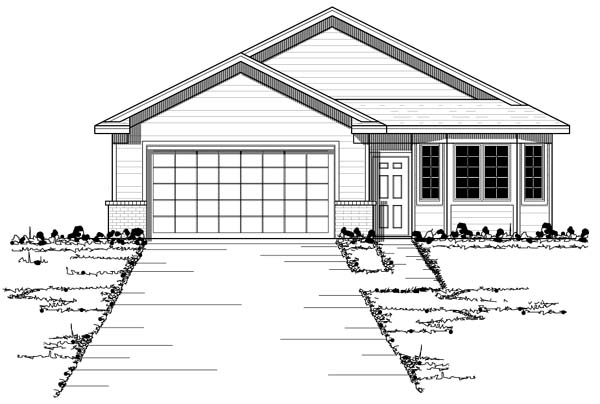 European, Narrow Lot, Ranch, Traditional House Plan 42054 with 2 Beds, 2 Baths, 2 Car Garage Elevation