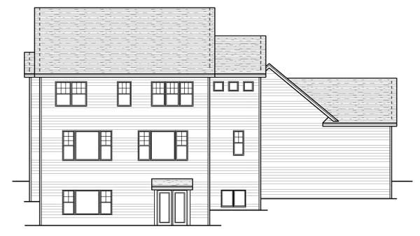 Colonial European Traditional House Plan 42058 Rear Elevation