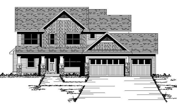 House Plan 42061 | Craftsman, European, Traditional Style House Plan with 2541 Sq Ft, 4 Bed, 3 Bath, 3 Car Garage Elevation