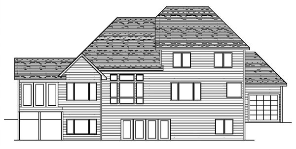 European Traditional House Plan 42064 Rear Elevation