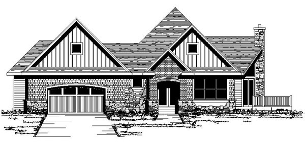 Craftsman European Ranch Traditional House Plan 42065 Elevation