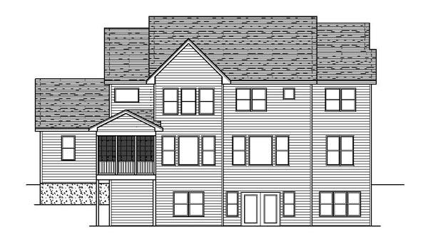 Craftsman European Traditional House Plan 42067 Rear Elevation