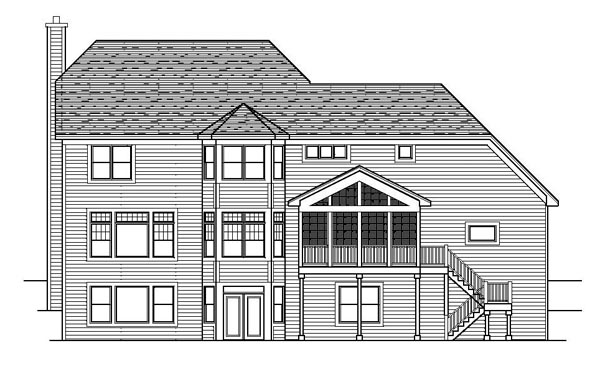 Colonial Craftsman European Traditional House Plan 42071 Rear Elevation