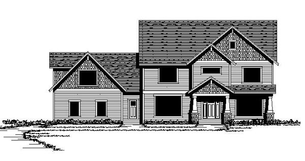 Colonial Craftsman European Traditional Elevation of Plan 42076