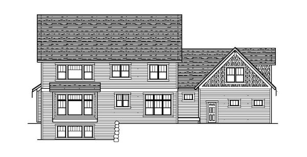Colonial Craftsman European Traditional Rear Elevation of Plan 42076