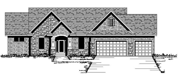House Plan 42078 | Ranch Traditional Style Plan with 1832 Sq Ft, 1 Bedrooms, 2 Bathrooms, 3 Car Garage Elevation