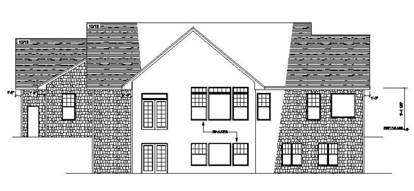 House Plan 42078 | Ranch Traditional Style Plan with 1832 Sq Ft, 1 Bedrooms, 2 Bathrooms, 3 Car Garage Rear Elevation