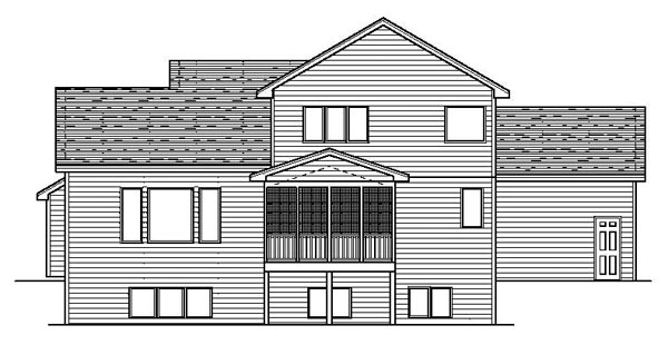 Traditional House Plan 42079 with 3 Beds, 3 Baths, 3 Car Garage Rear Elevation