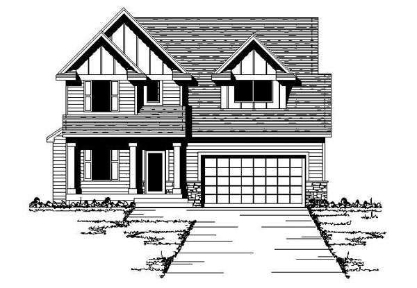 Craftsman, Traditional House Plan 42080 with 3 Beds, 3 Baths, 2 Car Garage Elevation