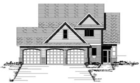 Traditional , European House Plan 42081 with 3 Beds, 3 Baths, 3 Car Garage Elevation