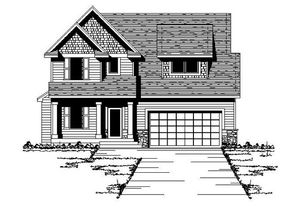 Country, Craftsman, Narrow Lot, Traditional House Plan 42082 with 3 Beds, 3 Baths, 2 Car Garage Front Elevation