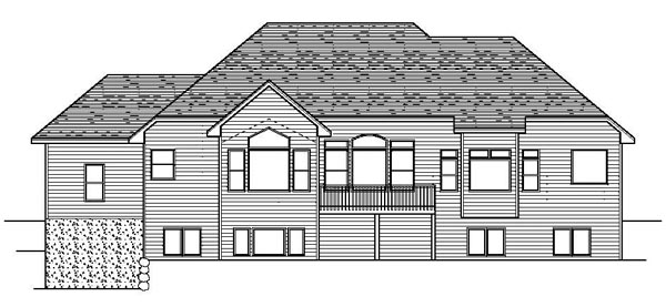 European Traditional House Plan 42085 Rear Elevation