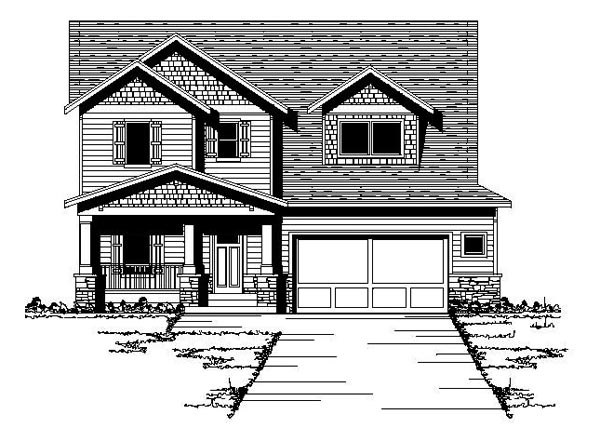 Bungalow Craftsman Traditional House Plan 42087 Elevation