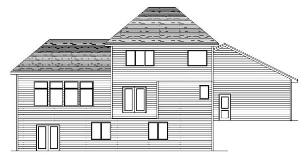 European Traditional House Plan 42088 Rear Elevation
