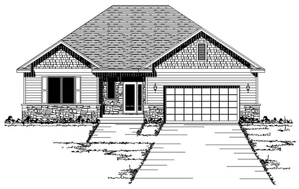 European, One-Story, Traditional House Plan 42092 with 2 Beds, 1 Baths, 2 Car Garage Elevation