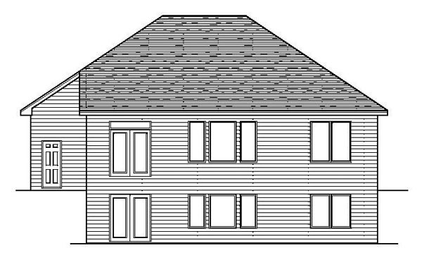 European, One-Story, Traditional House Plan 42093 with 2 Beds, 1 Baths, 2 Car Garage Rear Elevation