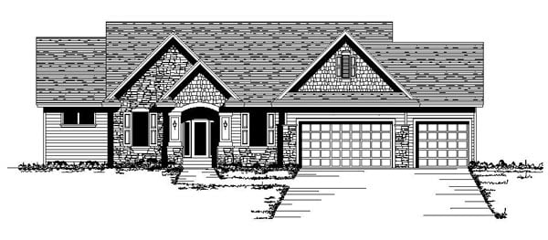 Craftsman , One-Story , Traditional , Tudor , Elevation of Plan 42101