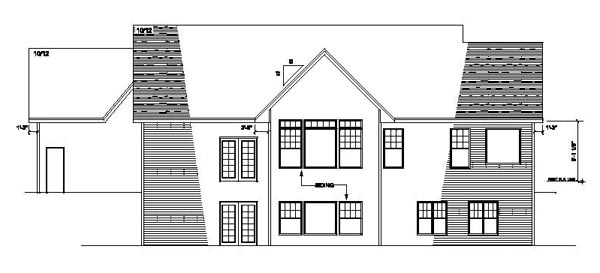 Craftsman , One-Story , Traditional , Tudor , Rear Elevation of Plan 42101