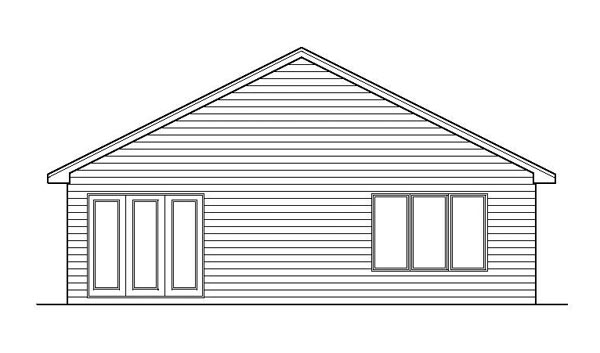 House Plan 42103 | Traditional Style Plan with 1723 Sq Ft, 2 Bedrooms, 2 Bathrooms, 2 Car Garage Rear Elevation
