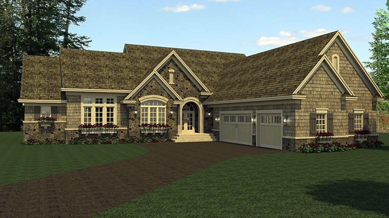 European Ranch Traditional House Plan 42108 Elevation
