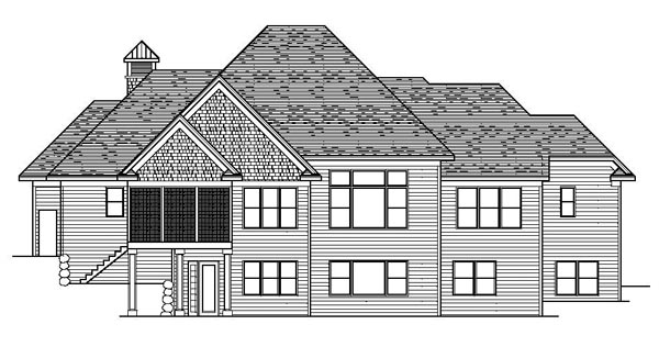 Craftsman European Traditional House Plan 42110 Rear Elevation