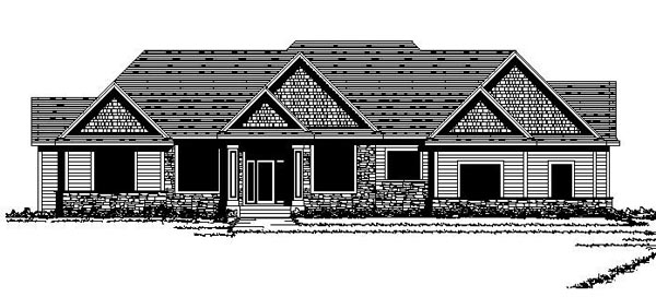 Craftsman European Ranch Traditional House Plan 42112 Elevation