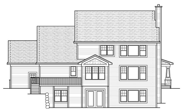 Colonial Craftsman European Traditional House Plan 42119 Rear Elevation