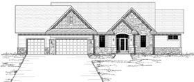 Craftsman , Ranch , Traditional House Plan 42120 with 3 Beds, 3 Baths, 3 Car Garage Elevation