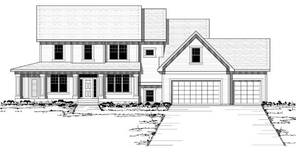 Colonial Country European Traditional Elevation of Plan 42124