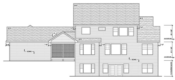 Country European Traditional Rear Elevation of Plan 42127