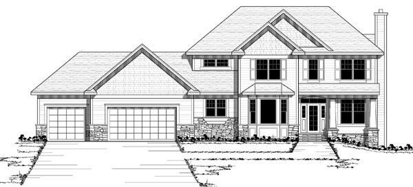 Colonial European Traditional Elevation of Plan 42129