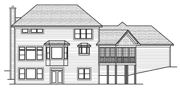 Colonial European Traditional Rear Elevation of Plan 42129
