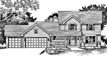Traditional House Plan 42132 with 3 Beds, 3 Baths, 3 Car Garage Elevation