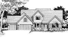 House Plan 42151 | Traditional Style Plan with 2414 Sq Ft, 3 Bedrooms, 3 Bathrooms, 3 Car Garage Elevation