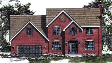 Traditional House Plan 42155 with 3 Beds, 3 Baths, 2 Car Garage Elevation