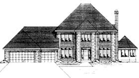 House Plan 42171 | Contemporary Style Plan with 2838 Sq Ft, 4 Bedrooms, 3 Bathrooms, 3 Car Garage Elevation