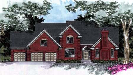 Traditional House Plan 42174 with 3 Beds , 3 Baths , 3 Car Garage Elevation
