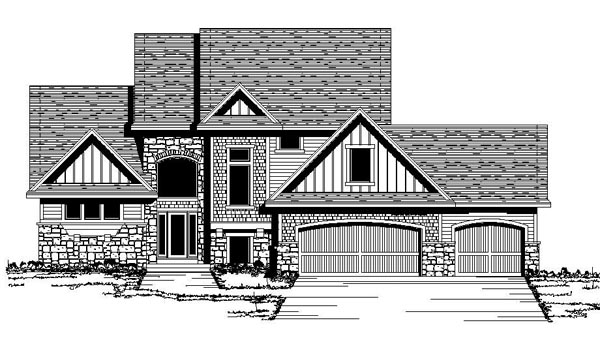 Craftsman House Plan 42178 with 3 Beds, 3 Baths, 3 Car Garage Front Elevation