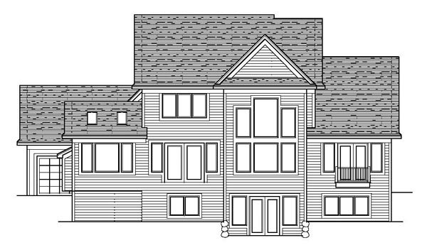Craftsman House Plan 42178 with 3 Beds, 3 Baths, 3 Car Garage Rear Elevation