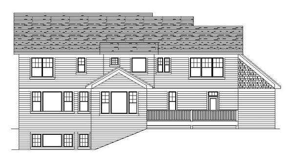 Traditional House Plan 42179 with 4 Beds, 3 Baths, 3 Car Garage Rear Elevation