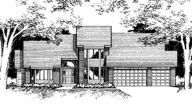 Contemporary House Plan 42184 with 4 Beds, 4 Baths, 3 Car Garage Elevation