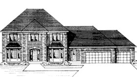 Colonial House Plan 42189 with 4 Beds, 3 Baths, 3 Car Garage Elevation