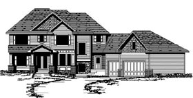 European House Plan 42190 with 3 Beds, 3 Baths, 3 Car Garage Elevation